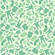 Green vector baby born seamless pattern Stock Illustration