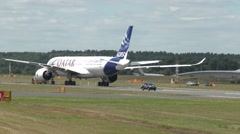 Airbus A350 XWB Being Pushed into Position Stock Footage