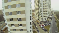 Wall with windows of multilevel residential house Stock Footage