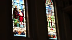 Church Cathedral Artistic Glass Saint Blurry Background Stock Footage