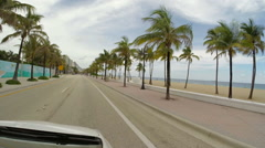 Drive Ft Laud Beach Florida USA Stock Footage