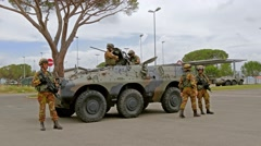 Soldiers and armored vehicle, training, Grosseto, Italy, 4k Stock Footage