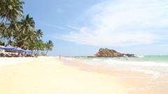 MIRISSA, SRI LANKA - MARCH 2014: The view of a beach in Mirissa. Stock Footage