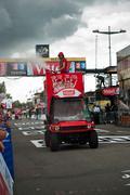 mulhouse - france - 13 th july 2014 - tour de france - vittel advertising - stock photo
