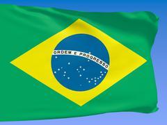 Brazil flag over blue sky Stock Illustration