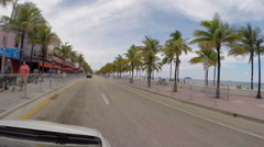 Stock Video Footage of Fort Lauderdale A1A drivers point of view