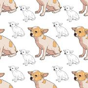 Seamless pattern of adorable chihuahua Stock Illustration