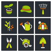 Garden icon set Piirros