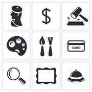 Museum, auction sale icon set Stock Illustration