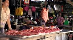 Vietnam Phú Mỹ district villages 067 butcher on weekly market Stock Footage