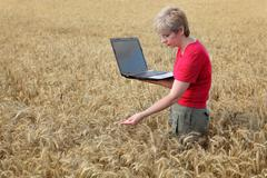 agriculture, agronomist examine wheat field - stock photo