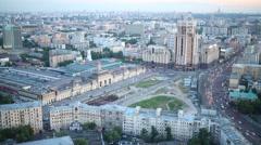 Paveletskiy railway station in Zamoskvorechye at evening Stock Footage