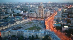 Paveletskiy railway station at summer evening in Moscow, Russia Stock Footage
