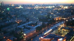 Drainage channel and salute at evening in Moscow, Russia Stock Footage