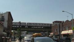 Subway train elevated Brooklyn slows - stock footage