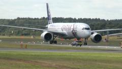 Airbus A350 XWB Taxi and Stop Stock Footage