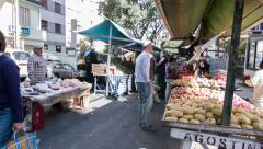 Amazing free market in Sao Paulo City. People buying some vegetable and fruits. Stock Footage