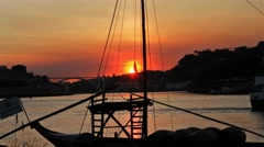 Portugeuse Rabelo Boat, Porto Sunset Stock Footage