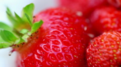 Fresh ripe perfect strawberry. Rack focus Stock Footage