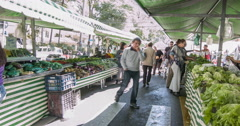 Amazing free market in Sao Paulo City. People buying some vegetable and fruits. - stock footage