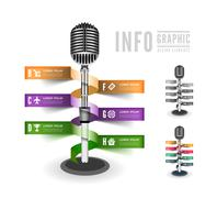 standing microphone - stock illustration