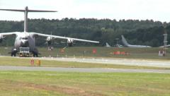 Airbus A400M Being Towed Along Runway Stock Footage