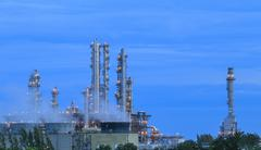 refinery factory twilight - stock photo