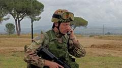 Soldier talking on radio, training, Grosseto, Italy, 4k Stock Footage