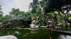 The pond in famous private garden in Guangdong province, China Stock Footage