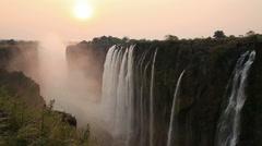 Victoria Falls sunset Stock Footage