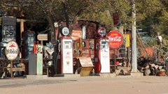 A old gas station along Rt 66 Stock Footage