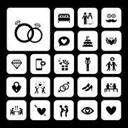 Wedding icons set Stock Illustration