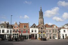 Empty square on a sunday morning in amersfoort Stock Photos