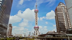 Timelapse of Oriental Pearl TV Tower and cityscape , Shanghai, China Stock Footage