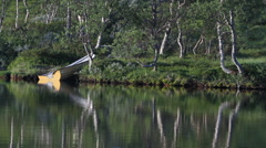 Small boat besides a lake Stock Footage