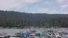 2.5K Big Bear Marina Tilt Down Pontoons Stock Footage