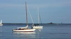 Close up of sailboats in harbor in Maine, USA Stock Footage