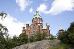 uspenski cathedral on rock in helsinki - stock photo