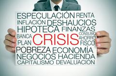 Economic crisis, in spanish Stock Photos