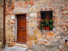 old brick facade - stock photo