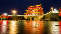 The pretty night view of Chaozhou ancient city gate and wall, Guangdong province Stock Footage
