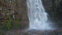 Njupeskar waterfall, bottom, pan Stock Footage