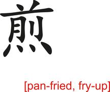 Stock Illustration of Chinese Sign for pan-fried, fry-up