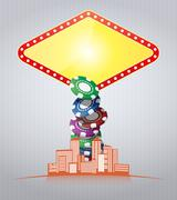 Illustration of las vegas sign with urban city Stock Illustration