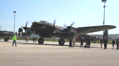 Avro Lancaster bomber with markings of Ropey another Lancaster from 419 Squadron Stock Footage