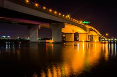 the acosta bridge over the st. john's river at night, in jacksonville, florid - stock photo