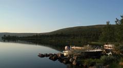 Calm evening lake Stock Footage
