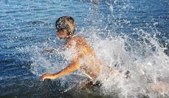 Swimming in lake Kinneret Stock Photos