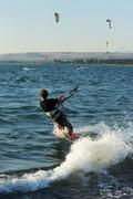 Sky-surfing on lake Kinneret Stock Photos