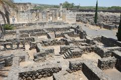 Excavations of the ancient city of Capernaum - stock photo